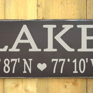 Lake House Decor Wall Art Latitude Longitude GPS Home Wooden Signs