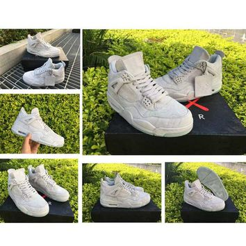 [With Box]KAWS x Retro IV 4 Men Basketball Shoes White Suede 4S IV Authentic Sports sneakers Outdoor Traniners Boots Size41-47