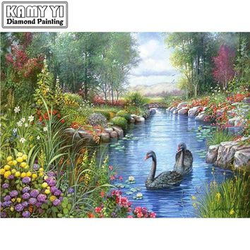 5D Diamond Painting Two Gray Swans Kit