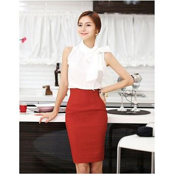 BFYL Pencil Skirt Women Plus Size High Waist Slim Hips Candy Color Formal Saias Feminino Lady Classic Knee Length Office Skirts