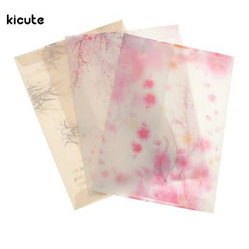 5pcs/pack Sakura Blossom Pink Japan Cherry Painting Design Artificial Parchment Paper Envelope School Office Supplies Gifts