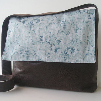 Messenger Bag in a Blue Floral Design by jazzygeminis on Etsy