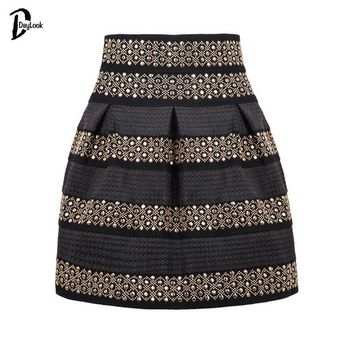 DayLook Summer Style Women White&Black Rivet Striped Skirt Bud Studded Punk Bandage Skater Skirts Saia Plus Size S-XL
