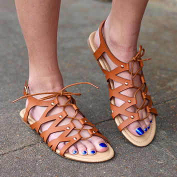 Chelssi Lace Up Sandals {Tan}