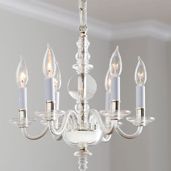 George II Mini Six-Light Polished-Nickel Chandelier - Visual Comfort