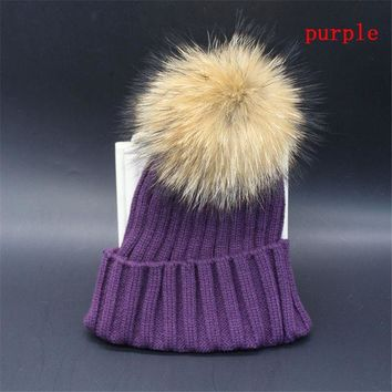 DCCKJG2 Trendy Unisex Men Women Winter Fur Cap Hat Baggy Beanie Knit Crochet Ski Oversized Slouch Cap Accessories