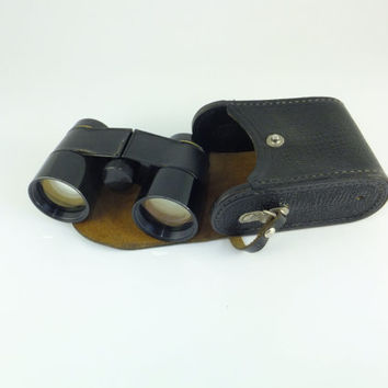 Vintage Soviet Opera Binoculars Opera Glasses Soviet Binoculars Made in USSR Black and Gold Leather Case Vintage Binoculars Antique Glasses
