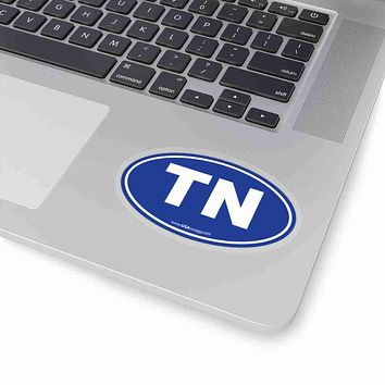 Tennessee TN Euro Oval Sticker SOLID BLUE
