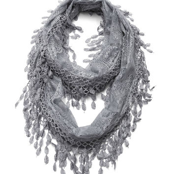 Cozy by LuLu - Gray Lace Infinity Scarf
