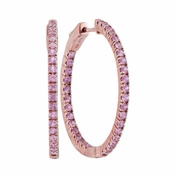14kt Rose Gold Women's Round Pink Sapphire Hoop Earrings 2-3-4 Cttw - FREE Shipping (USA/CAN)