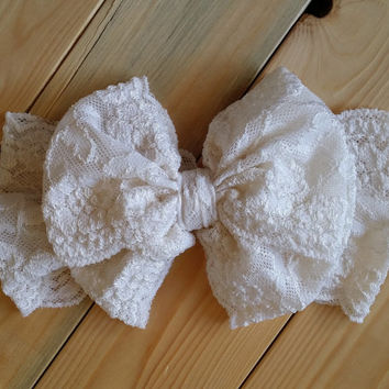 Lace Bow Headwrap - Vintage Ivory Bow