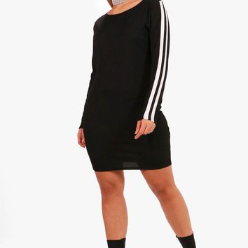 Plus Orla Sports Stripe Rib Mini Dress | Boohoo