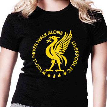 You'll Never Walk Alone Liverpool AMR Womens T Shirts Black And White