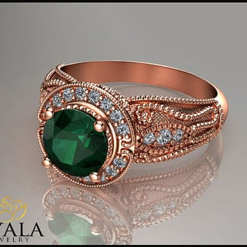 14K Rose Gold Emerald engagement ring,Vintage ring,Unique Design,Rose Gold Rings,Engagment Rings,Vintage Emerald Rings,Art Deco Ring.