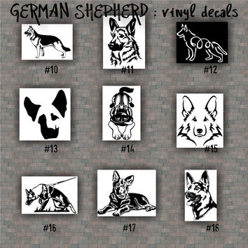 GERMAN SHEPHERD vinyl decals - 10-18 - vinyl sticker - car window stickers - working dog - pets - dog decal