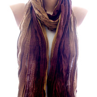 Brown crinkle unisex scarf, scarves for her for him, cozy scarf, trendy scarf