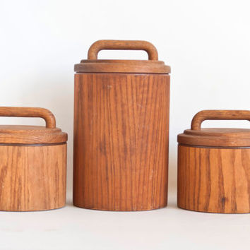 Vintage Cornwall Wood Kitchen Canister Set, Flour Sugar Coffee Dry Good Storage Containers, Mid Century Kitchen, Maine USA
