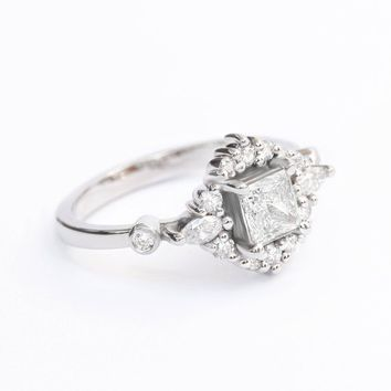 Square & Princess Cut Unique Engagement Ring, Cluster Diamond Engagement Ring, Square Diamond Wedding, Engagement Ring for Her, Eclipse