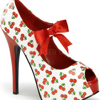 "Women's ""Cherry Teeze"" Heels by Pinup Couture (White/Red)"