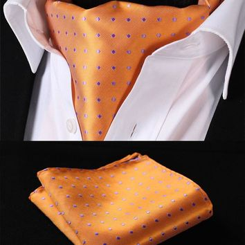 Orange Purple Polka Dot Silk Ascot Tie Pocket Square