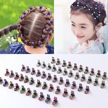 12PCS Small Cute Crystal Flowers Metal Hair Claws Clips