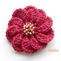 Flower Beaded Brooch Crochet Pin Applique Jewelry Niatta
