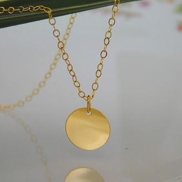 Gold Disc Pendant - Disc Necklace - Gold Circle Necklace - Plain Tag - Engravable - Bridal Jewelry - Bridesmaid Necklace - Dainty