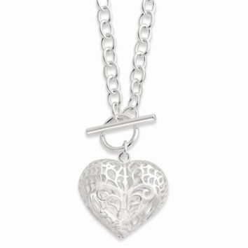 Sterling Silver Large Puffed Heart Necklace