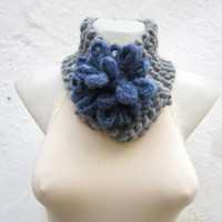 Removeable Brooch Pin -Cowl- Hand Knitted Neck Warmer  - Women  Winter  Accessories  Grey Blue