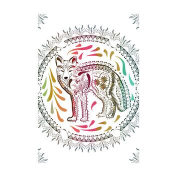 Ornate Fox Adhesive Art Print