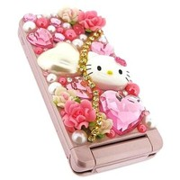 Officially Licensed Sanrio Hello Kitty DIY Decoration Art Kit w/ Flowers Hello Kitty Face Hearts & Beads - Pink/ White