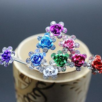 10pcs  Rose shape Women Wedding Jewelry Hair Clips Pin Set Flower Rhinestone Crystal Hair Combs Accessories H-6