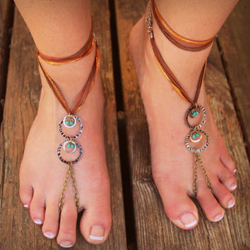 Bronze Chain Barefoot Sandals // Handmade // Blue // Hoop Shoes // Wedding Shoes // Barefoot Hippie // Gypsy // Beach // Summer