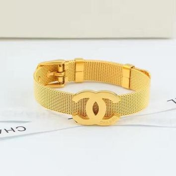 Double C Classic European And American Fashion Silk Mesh Belt Buckle Titanium Steel Bracelet