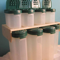Tupperware Spice Modular Mate Containers 4 large and 4 small Green Lids and Wall Rack for the organized pantry