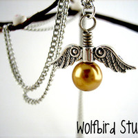 Golden Snitch Necklace Harry Potter by WolfbirdStudios on Etsy
