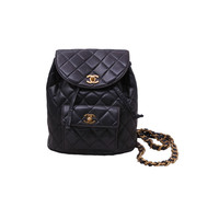 CHANEL - CHANEL DARK BROWN QUILTED BACKPACK