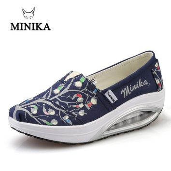 2017 Minika Swing Shoes Canvas Breathable Ladies Trainers Wedges Chaussure Femme Sport Platform Shoes For Women Zapatos Mujer