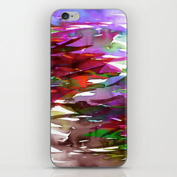 FERVOR 3 Colorful Bold Abstract Autumn Fall Crimson Red Purple Mauve Green Watercolor Painting Art iPhone & iPod Skin by EbiEmporium