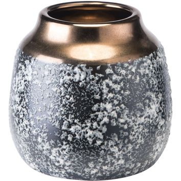 Black Ash Stoneware Metal Vase, Small