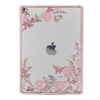 For Funda iPad Pro 9.7 Case Slim Floral Soft TPU Plating Frame Secret Garden with Diamond Case for iPad Pro 9.7 inch Back Cover