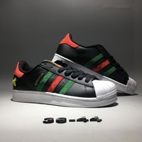 """""""Adidas Superstar x Gucci"""" Unisex Casual Fashion Couple Retro Multicolor Stripe Little Bee Shell Head Plate Shoes Sneakers"""