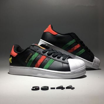 """Adidas Superstar x Gucci"" Unisex Casual Fashion Couple Retro Multicolor Stripe Little Bee Shell Head Plate Shoes Sneakers"
