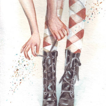HM069 Original watercolor art Doc Martins every time by Helga McLeod