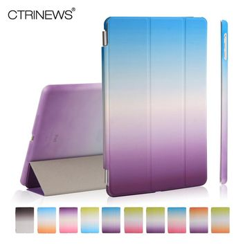 CTRINEWS Cover Case for Apple iPad Air 1 Ultra Slim PU Leather Cover for iPad Air 1 Smart Case Gradient Rainbow PC Back Cover