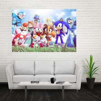 Nice sonic the hedgehog Cartoon Poster Custom Canvas Poster Art Home Decoration Cloth Fabric Wall Poster Print Silk Fabric Print
