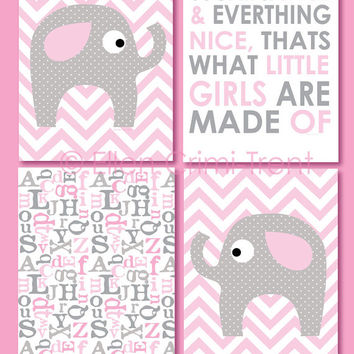 baby girl nursery wall art- kids decor- chevron print set