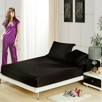 3pc Fitted Sheet Set Mattress Cover Satin Fabric Silk Bedspread Bed Sheets 1pcs Twin Full Queen Size Black/White/Grey/Brown