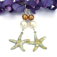 Silver Starfish Handmade Earrings Pearls Unique Beach Wedding Jewelry