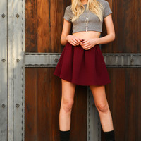 Burgundy Quilted Flare Pleated Skirt